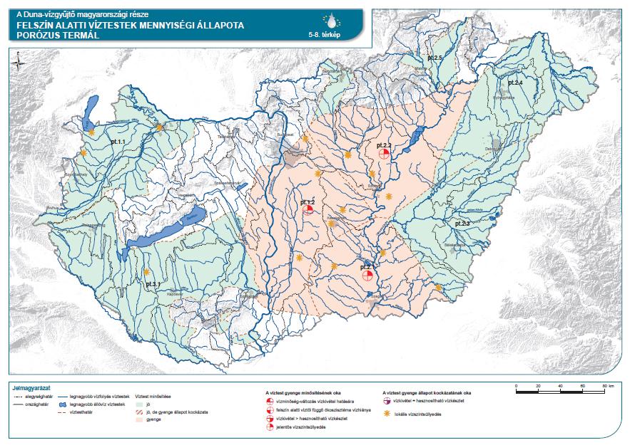 Felszín alatti víztestek (porózus termál) mennyiségi állapota
