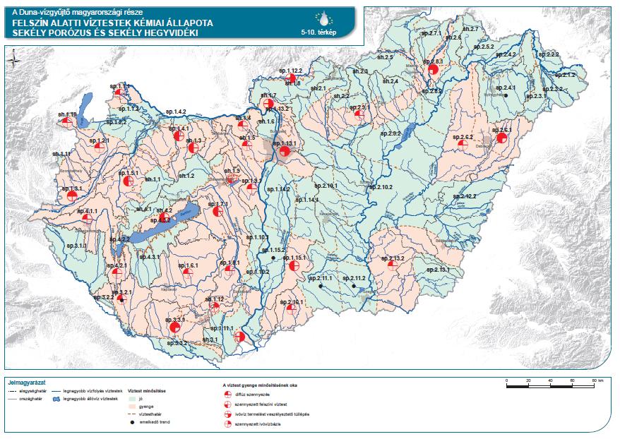 Felszín alatti víztestek kémiai állapota (sekély porózus és sekély hegyvidéki)