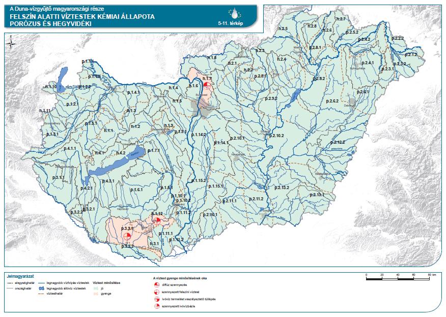 Felszín alatti víztestek (porózus és hegyvidéki) kémiai állapota