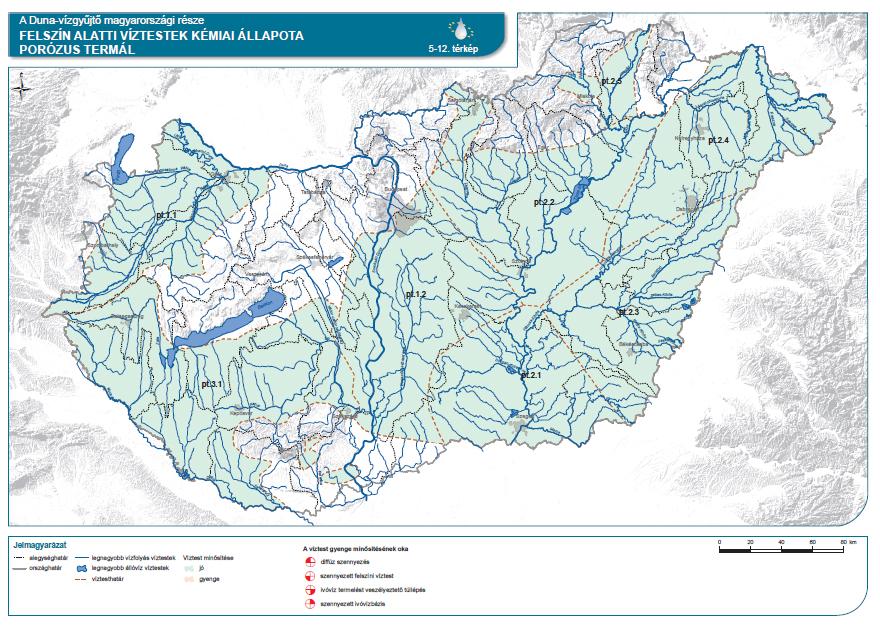Felszín alatti víztestek kémiai állapota (porózus termál)