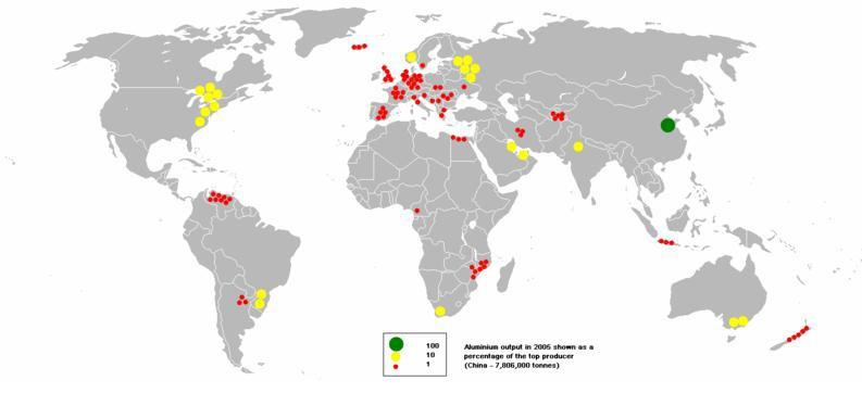 a világ alumínium termelése