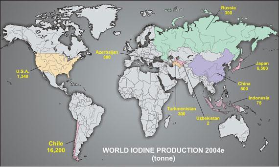 a világ jód termelése (2004)