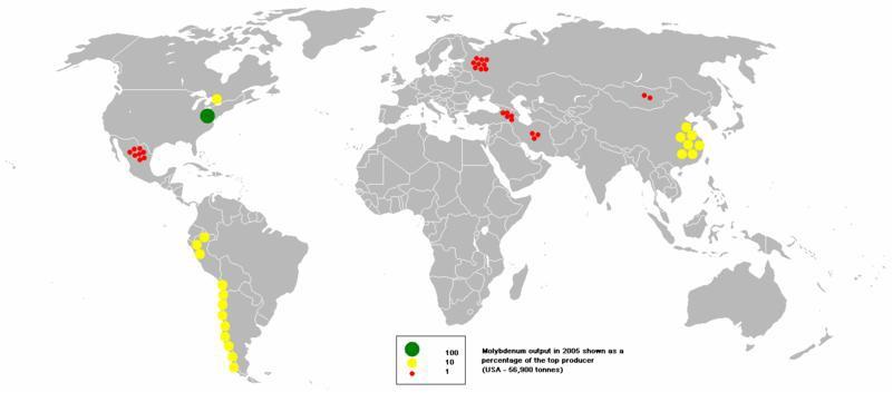 Molibdenum production on Earth
