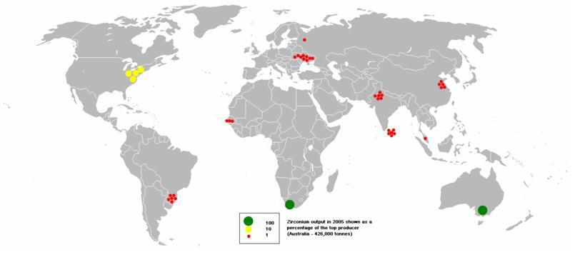 cirkónium termelés a Földön