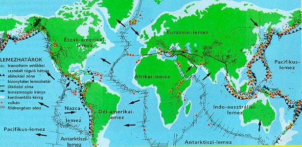 A Föld  kőzetlemezei