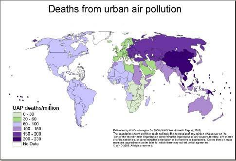 Légszennyezettségben elhunytak aránya