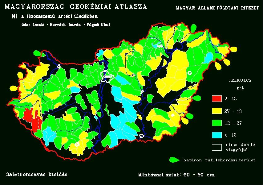 Nikkel természetes koncentrációja Magyarország talajaiban