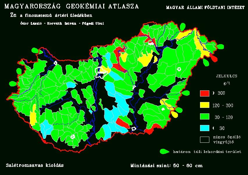 Cink természetes koncentrációja Magyarország talajaiban
