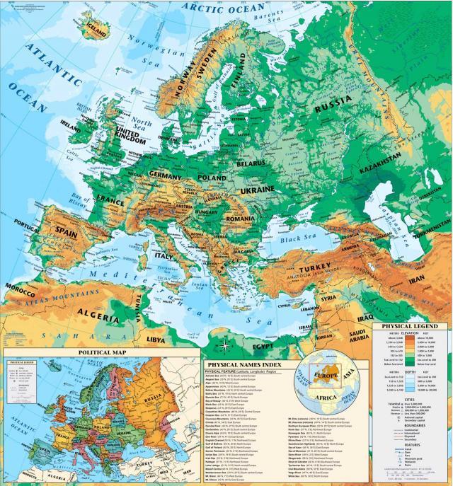Európa hegy- és vízrajzi térképe országokkal