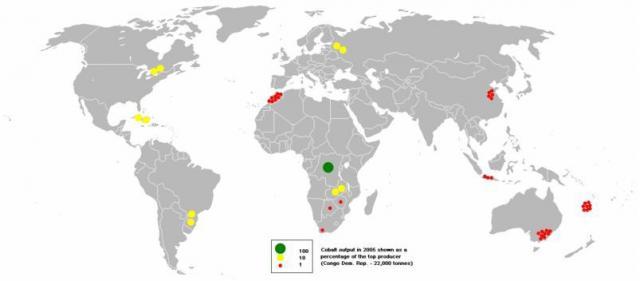 kobalttermelés a Földön