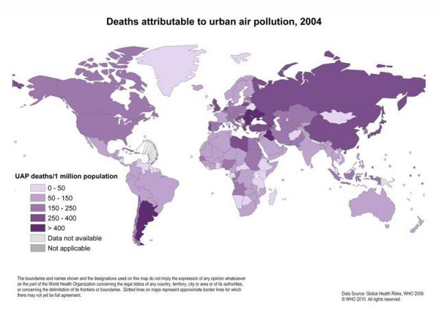 Szennyezett városi levegő miatti halálozások