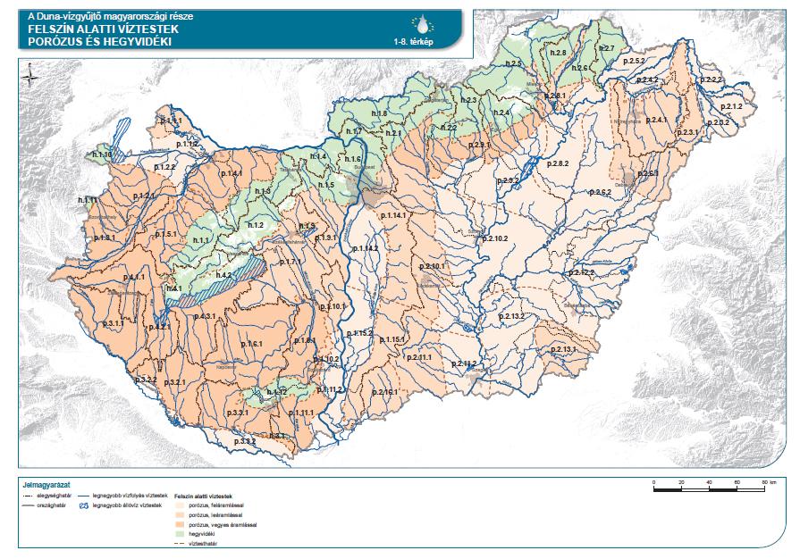 Porózus és hegyvidéki felszín alatti víztestek a Duna vízgyűjtője Magyarországi