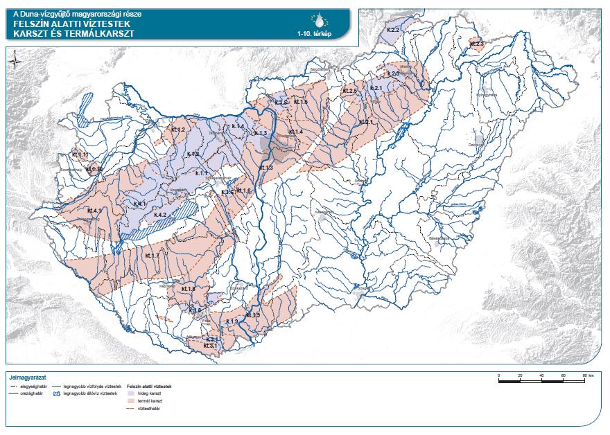 Karszt és termálkarszt felszín alatti víztestek a Duna vízgyűjtője  Magyarország